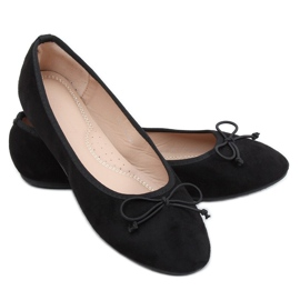 Baleriny damskie zamszowe czarne 2CE-9490 Black