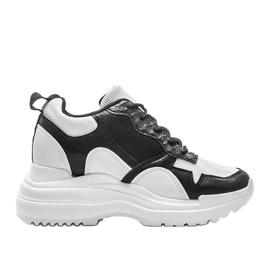 Biało-czarne sneakersy na koturnie Alexandra białe