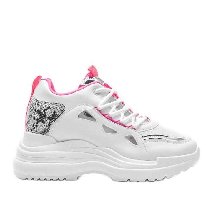 Biało różowe sneakersy snake Felicia białe