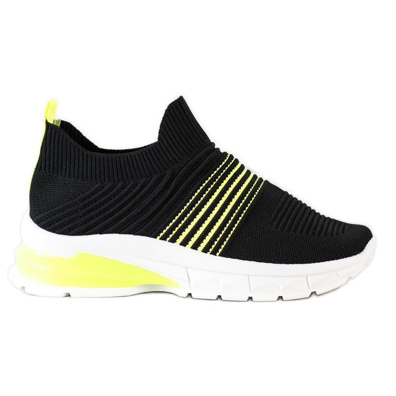 SHELOVET Wiosenne Ażurowe Sneakersy czarne żółte