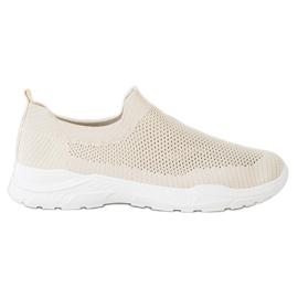 Ideal Shoes Wsuwane Buty Z Siateczką beżowy