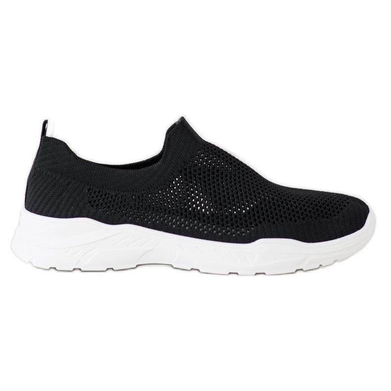 Ideal Shoes Wsuwane Buty Z Siateczką czarne