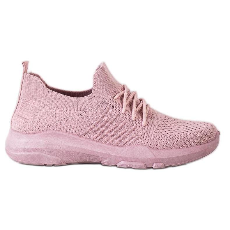 SHELOVET Wygodne Różowe Buty Sportowe