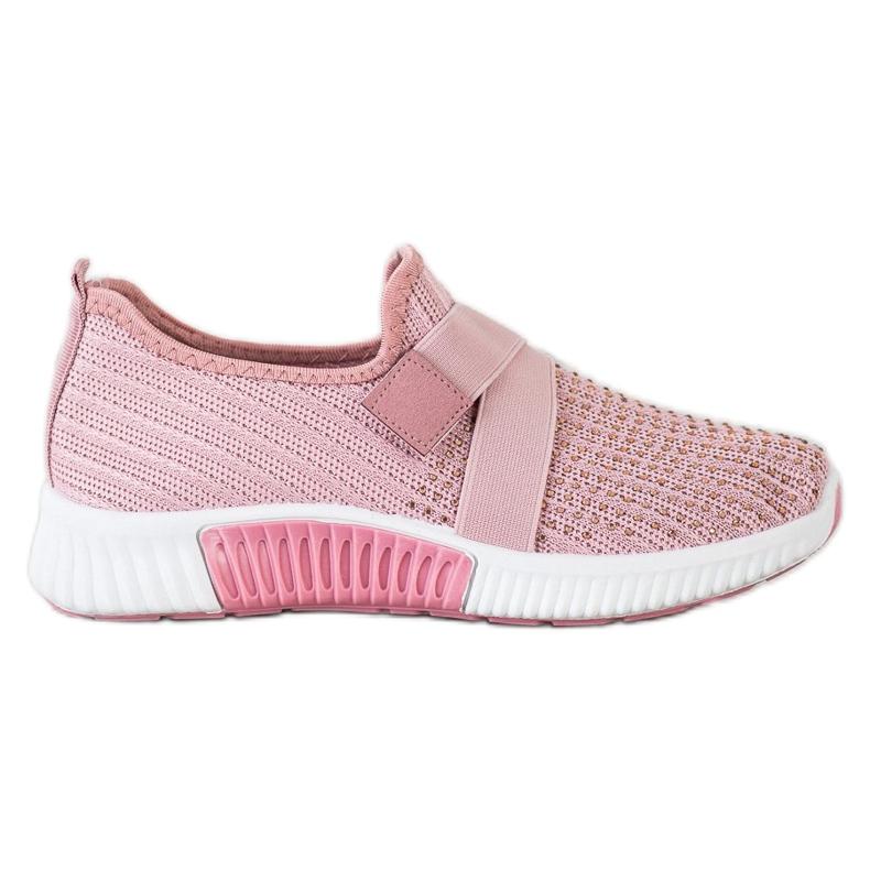 SHELOVET Buty Sportowe Z Kryształkami różowe