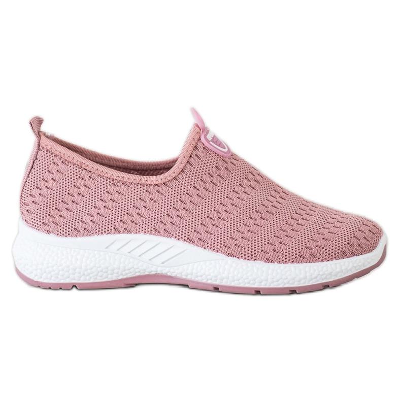 SHELOVET Lekkie Wsuwane Sneakersy różowe