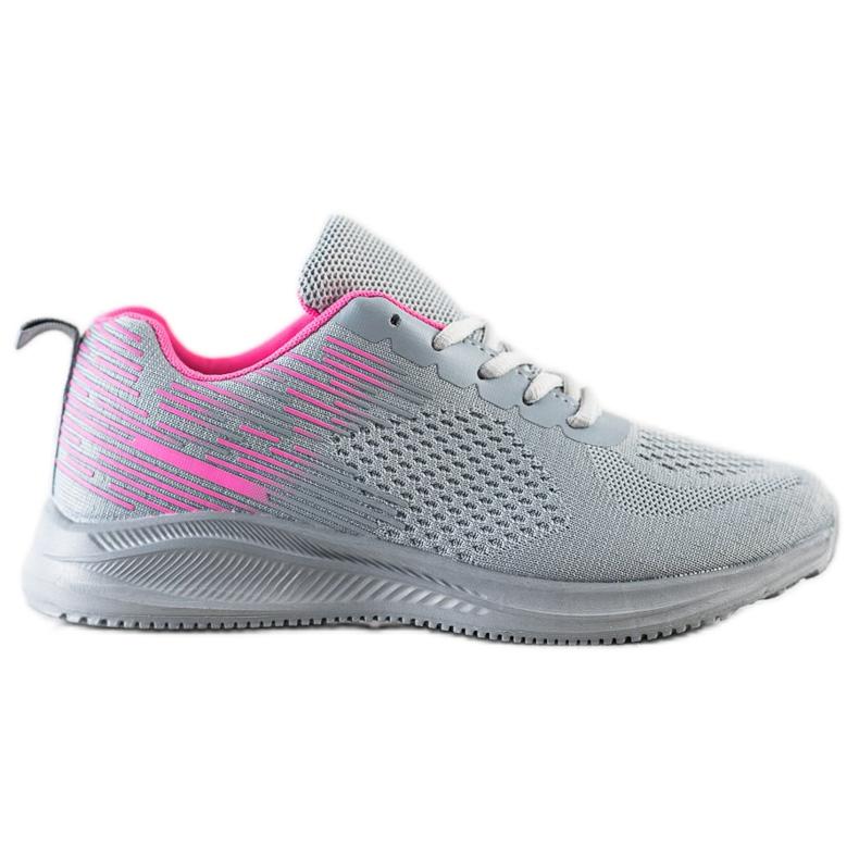 Bona Lekkie Buty Sportowe różowe szare