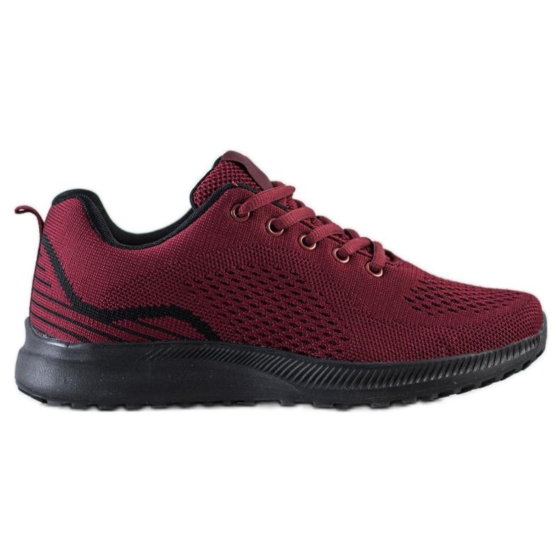 Bona Bordowe Lekkie Buty Sportowe czarne czerwone