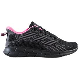 Bona Ażurowe Buty Sportowe czarne różowe szare