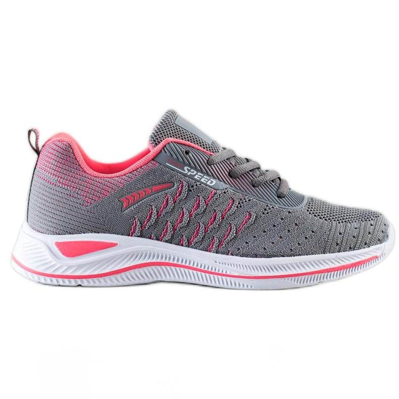 Bona Buty Sportowe Running Speed różowe szare