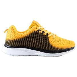 Bona Lekkie Sportowe Sneakersy czarne żółte