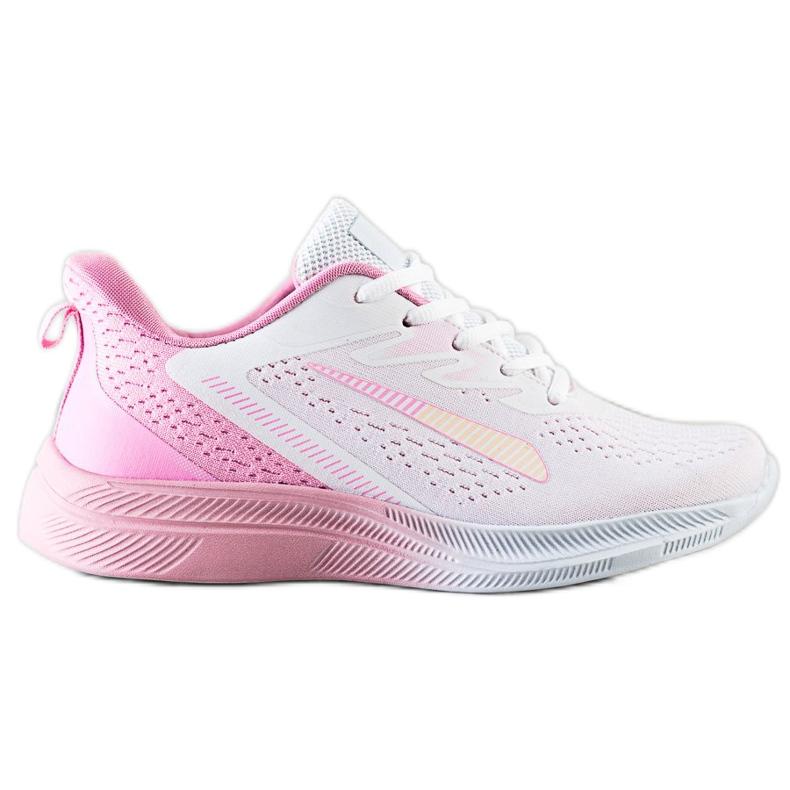 Bona Ażurowe Sneakersy Na Wiosnę białe różowe