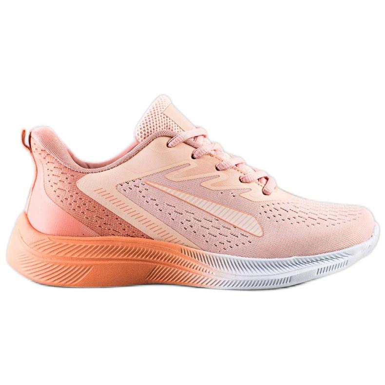 Bona Ażurowe Sneakersy Na Wiosnę pomarańczowe różowe