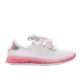Biało różowe obuwie wsuwane Marley białe