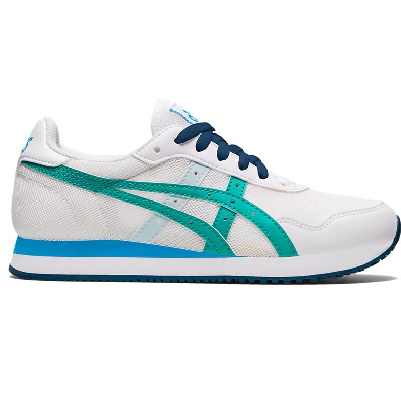 Buty dla dzieci Asics Tiger Runner Gs biało-niebieskie 1204A015 100 białe wielokolorowe