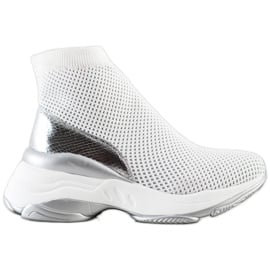 SHELOVET Wysokie Tekstylne Sneakersy białe