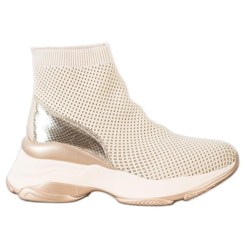 SHELOVET Wysokie Tekstylne Sneakersy beżowy