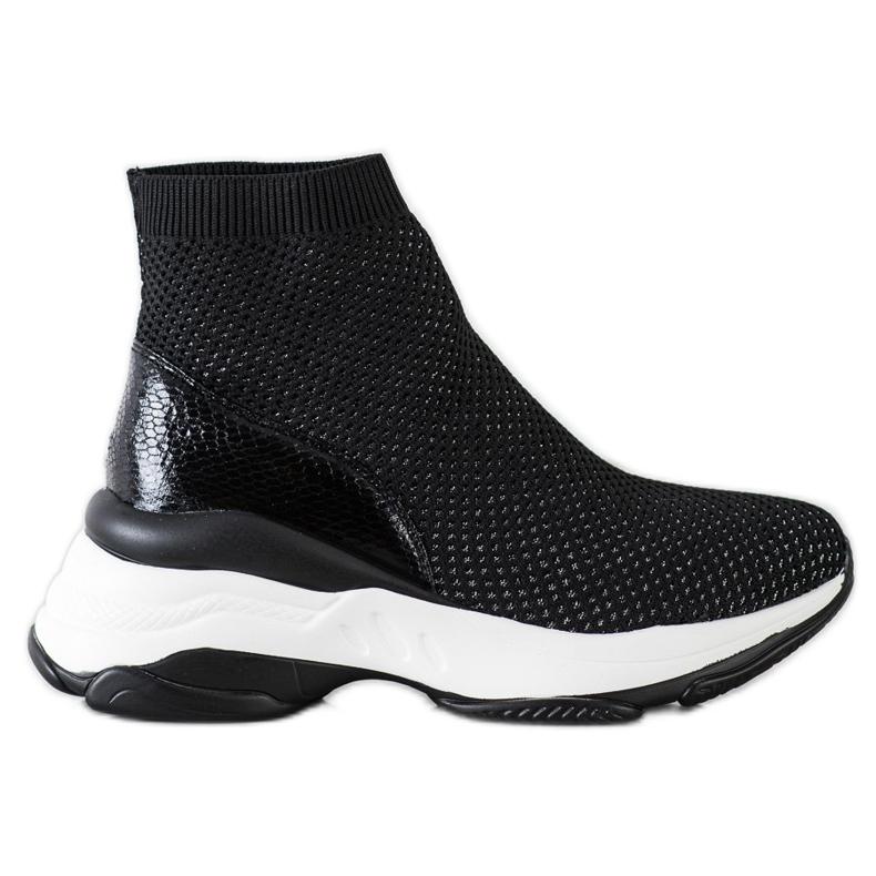 SHELOVET Wysokie Tekstylne Sneakersy czarne