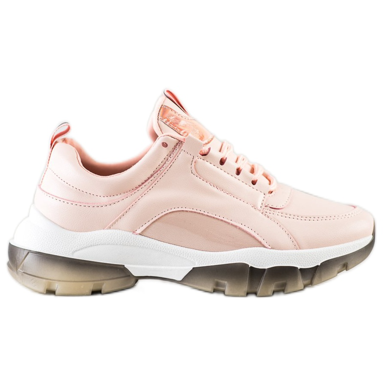 SHELOVET Różowe Sneakersy Z Eko Skóry