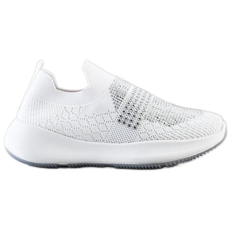 Renda Białe Sneakersy Z Kryształkami