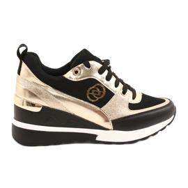 Evento Damskie Sneakersy Na Koturnie Czarne Złote Roxette