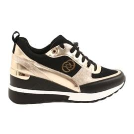 Evento Damskie Sneakersy Na Koturnie 21PB35-4001 Czarne Złote Roxette złoty