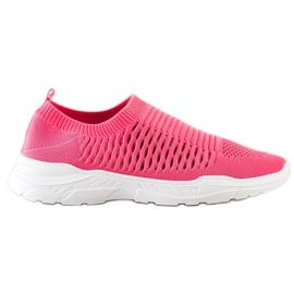 Ideal Shoes Wygodne Ażurowe Sneakersy różowe