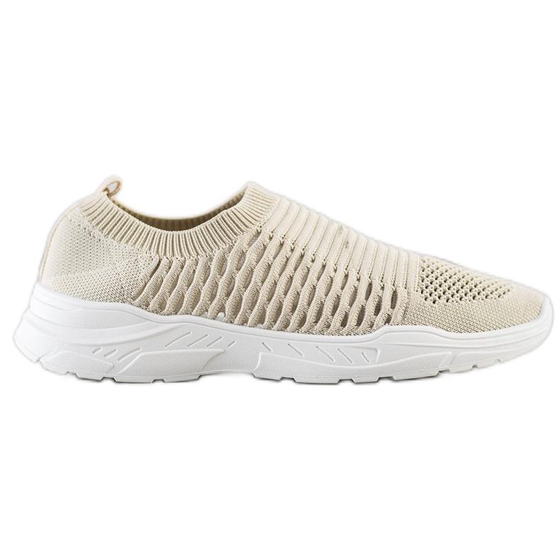Ideal Shoes Wygodne Ażurowe Sneakersy beżowy