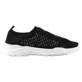 Ideal Shoes Wygodne Ażurowe Sneakersy czarne