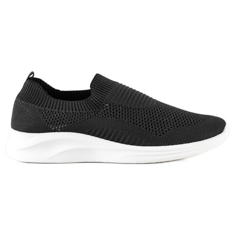 Ideal Shoes Czarne Sportowe Slipony