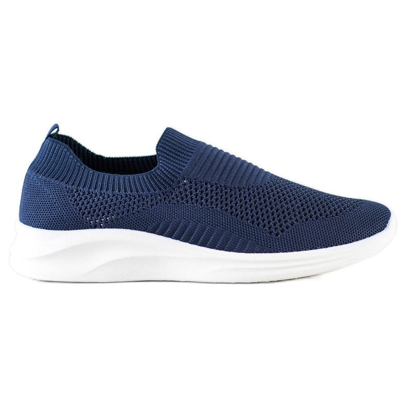Ideal Shoes Granatowe Sportowe Slipony niebieskie