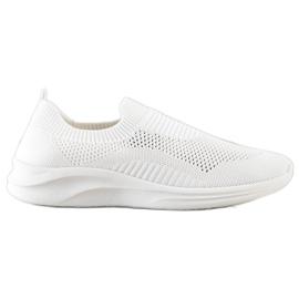 Ideal Shoes Białe Sportowe Slipony