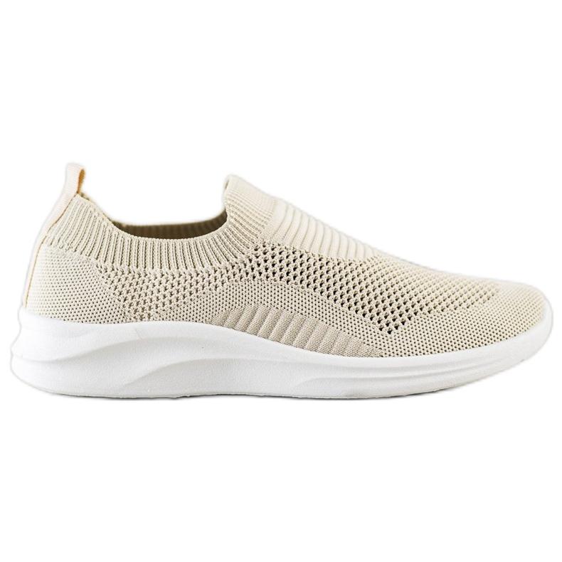 Ideal Shoes Beżowe Sportowe Slipony brązowe