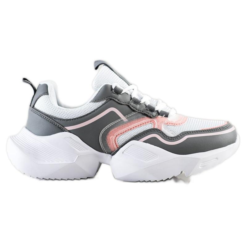 SHELOVET Lekkie Sportowe Sneakersy białe różowe szare