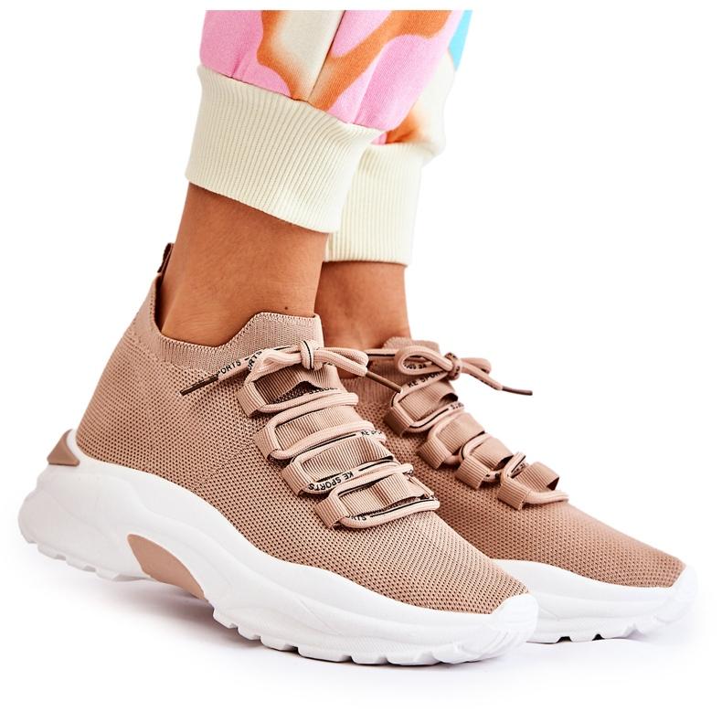 Damskie Sportowe Buty Skarpetkowe Beżowe KeSports beżowy