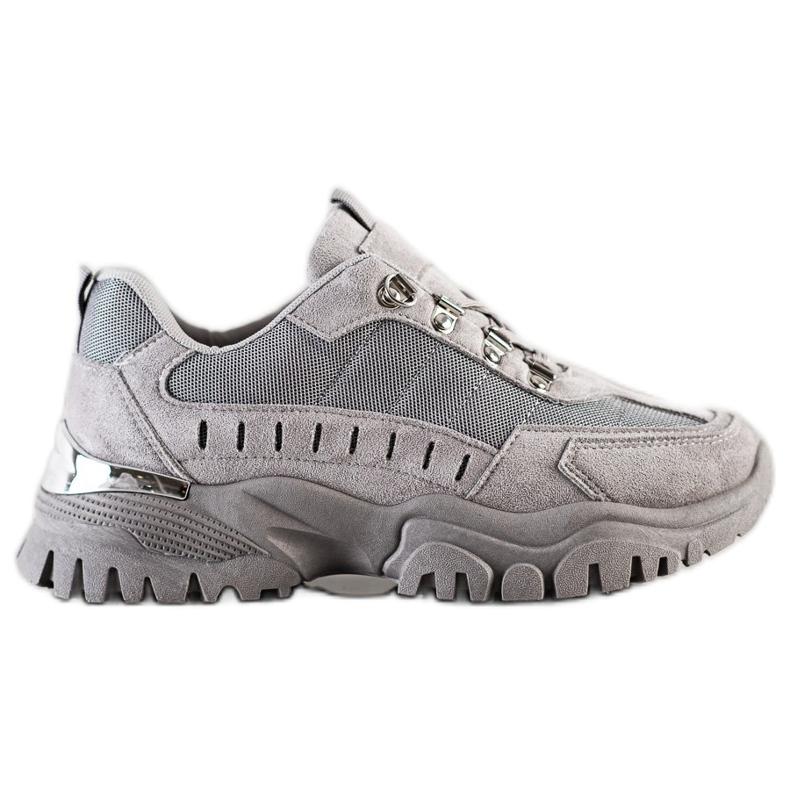 SHELOVET Szare Sneakersy