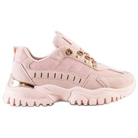 SHELOVET Pudrowe Sneakersy różowe