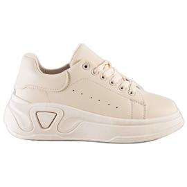 SHELOVET Stylowe Sneakersy Z Eko Skóry beżowy