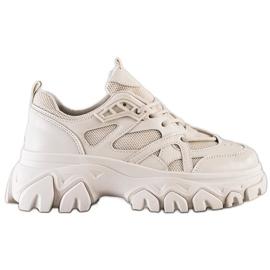 SHELOVET Beżowe Sneakersy Fashion brązowe