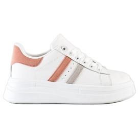 SHELOVET Sneakersy Z Zamszowymi Wstawkami białe