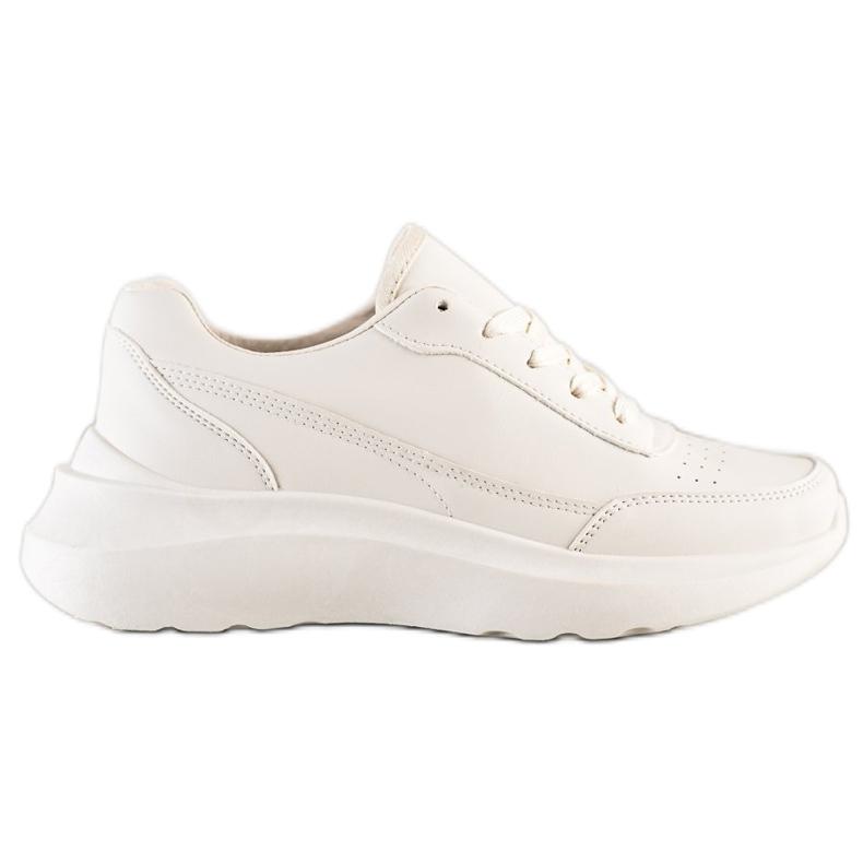 SHELOVET Klasyczne Sneakersy Z Eko Skóry beżowy
