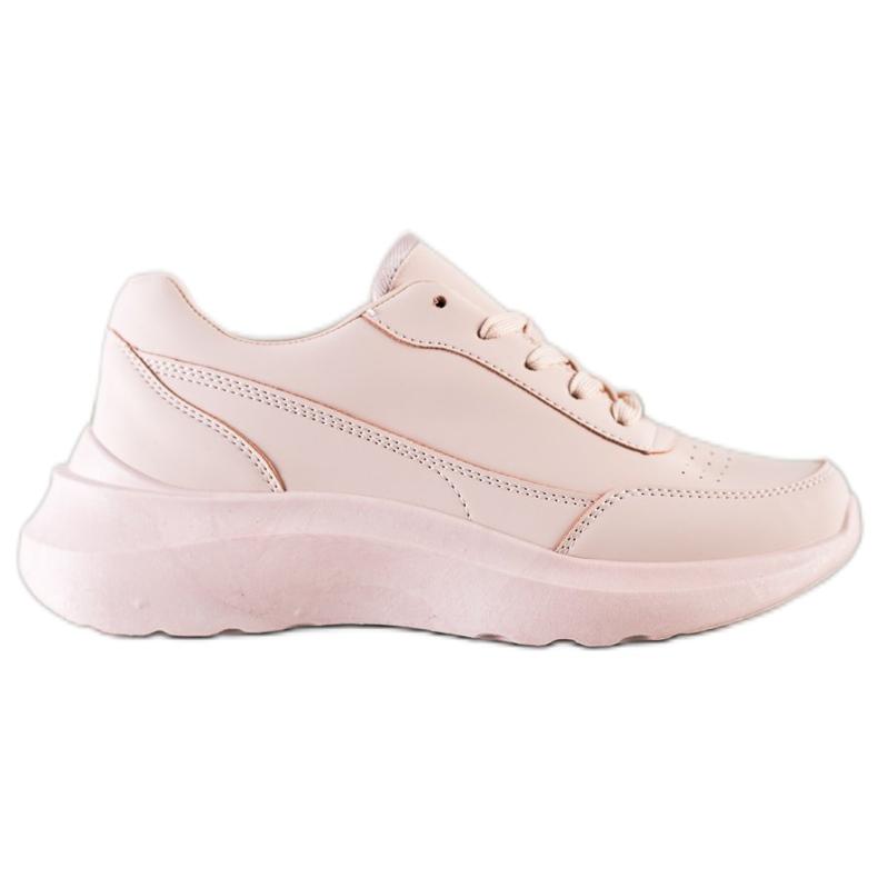SHELOVET Klasyczne Sneakersy Z Eko Skóry różowe