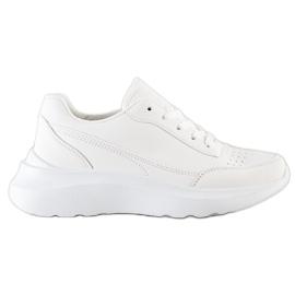SHELOVET Klasyczne Sneakersy Z Eko Skóry białe