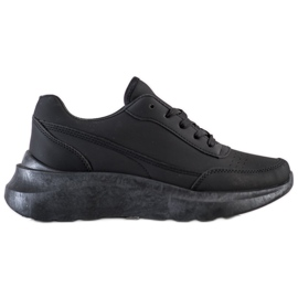 SHELOVET Klasyczne Sneakersy Z Eko Skóry czarne