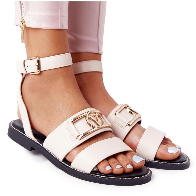 PS1 Płaskie Skórzane Sandały Beżowe On Time beżowy