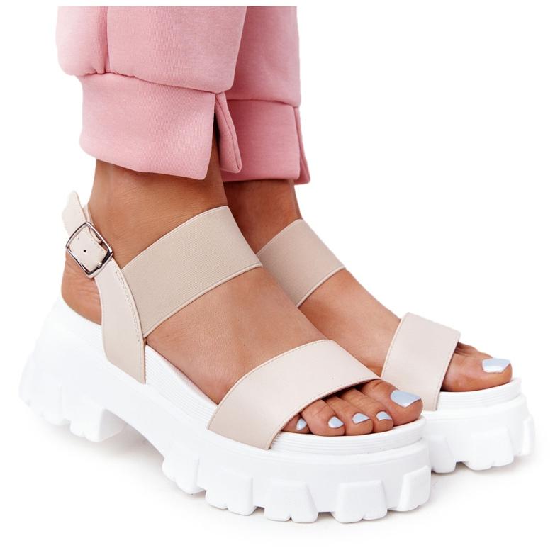 PS1 Sandały Na Platformie Beżowe Vagabond beżowy