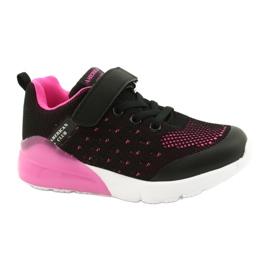 American Club Dziewczęce Buty Sportowe Na Rzep RL12/21 Czarne różowe