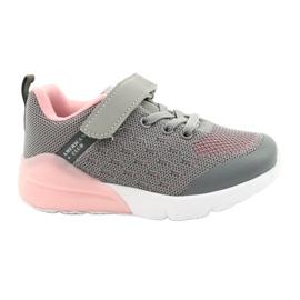 American Club Dziewczęce Buty Sportowe Na Rzep RL12/21 Szare różowe