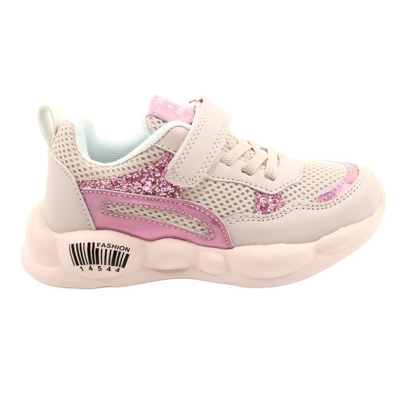 American Club Modne Halogeniczne Buty Sportowe ES23/21 różowe