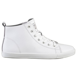 Ideal Shoes Wysokie Trampki Fashion Sports Shoes białe