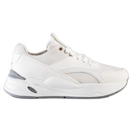 SHELOVET Klasyczne Sneakersy Na Platformie białe